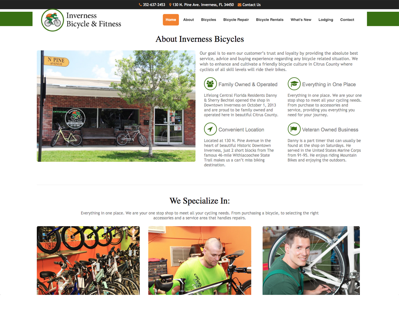 Inverness Bicycle Website Design