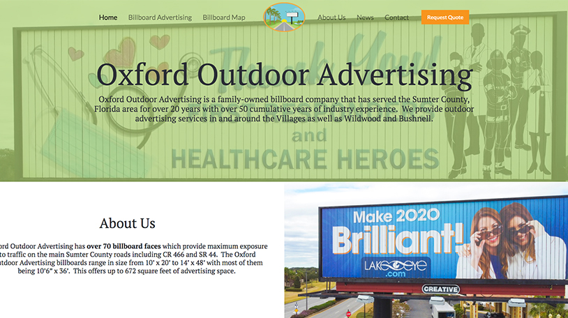 Web Design for The Villages Area Advertising Business